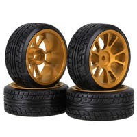 Mxfans 4 x 1:10 RC On-Road Car Tires with Aluminum Alloy 10 Spokes Wheel Rim Golden