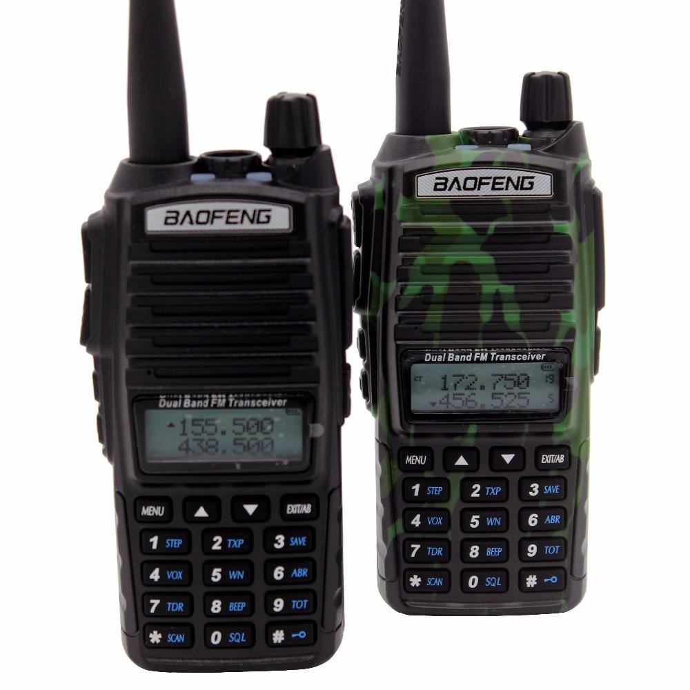 imágenes para 2 unids baofeng uv-82 vhf y uhf de mano radio de dos vías 136-174 MHz/400-520 MHz de Banda Dual de Doble PTT Walkie Talkie Pofung UV82
