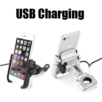 Aufladbare Edelstahl Universal Motorrad Telefon Halter Mit Stand Unterstützung Rück GPS Bike Halter Soporte Celular Moto