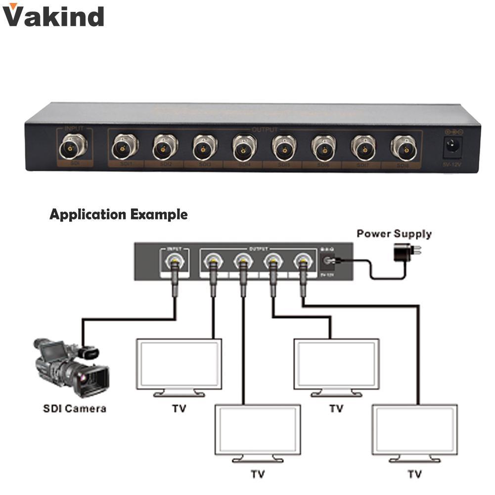 High Quality HD-SDI or 3G-SDI video source to 8 SDI/HD-SDI/3G-SDI displays simultaneousl With Power Supply Adapter