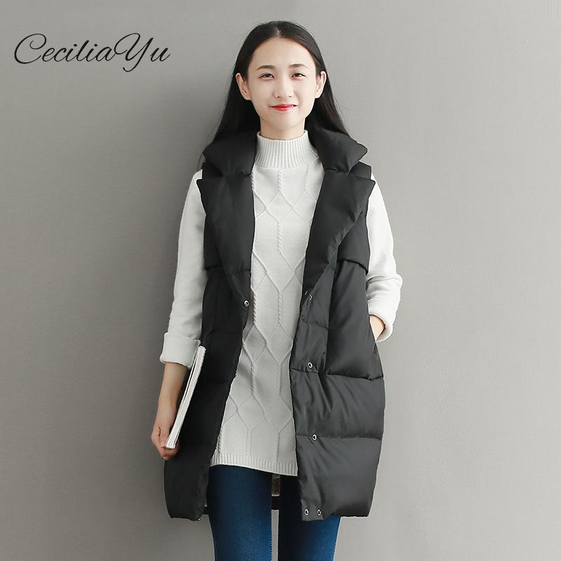 2019 New Arrival Merry Cecilia Long Solid Single Breasted Slim Standard Sleeveless White Duck   Down   85% Women's   Down     Coat   Winter