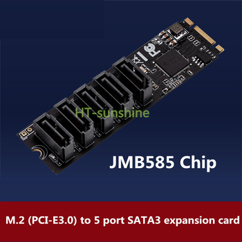 M.2 to SATA3 expansion card M.2 NVME to SATA3.0 solid state drive adapter card 5 port free drive
