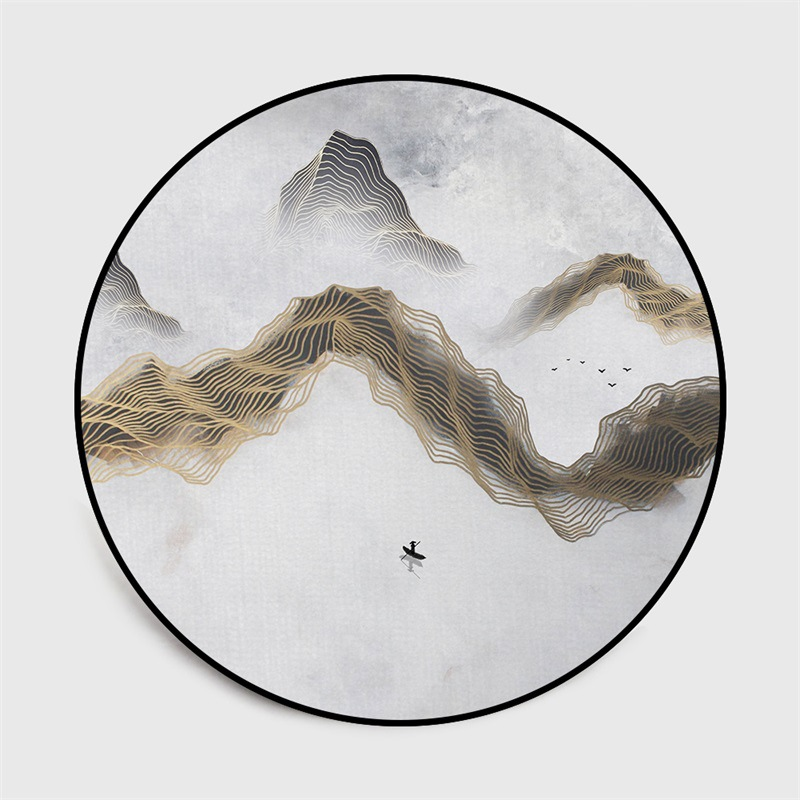 Image 4 - Chinese classical style abstract blue Mountain ink painting  carpet Bedroom living room round floor mat non slip rug custom madeMat