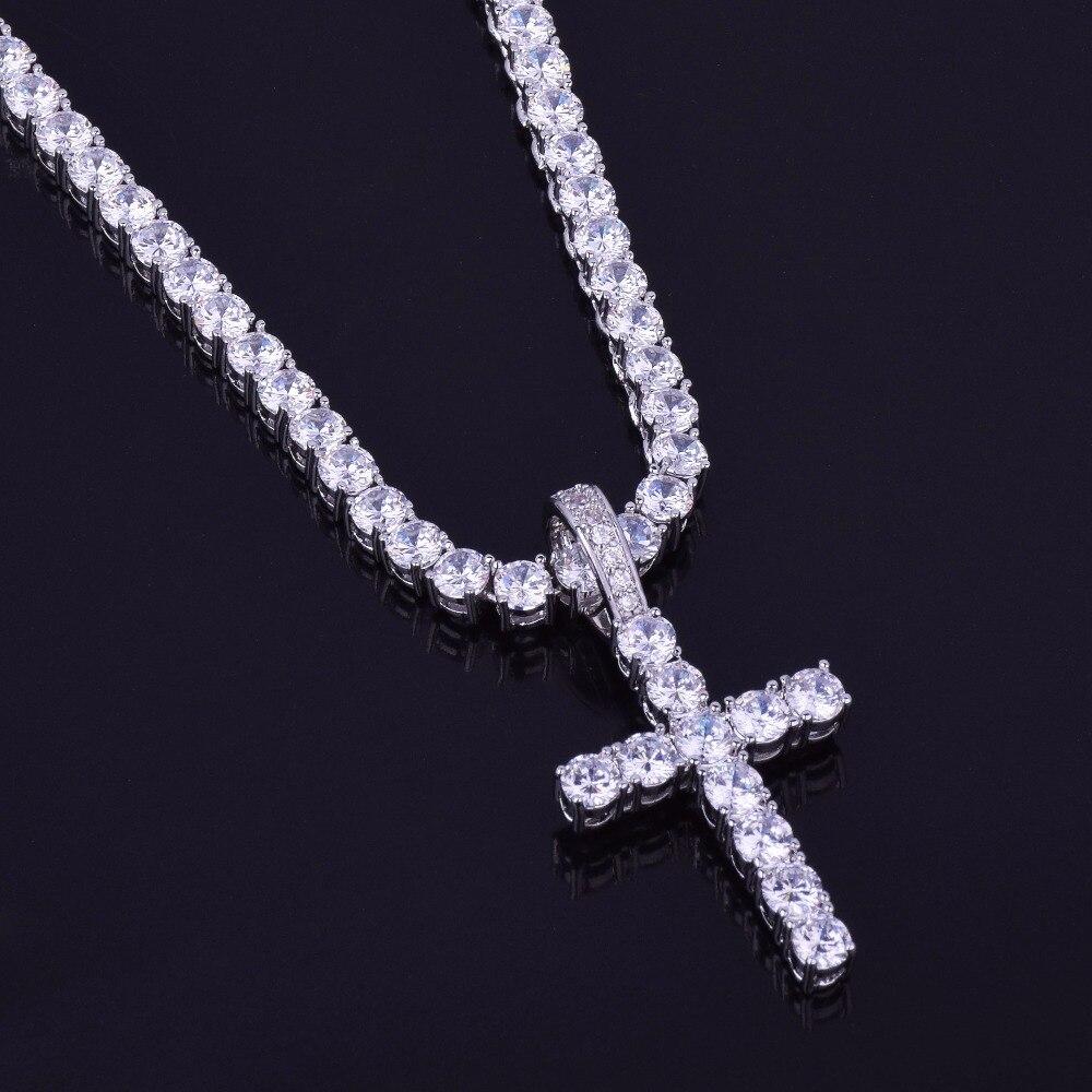 Gold Color Cross Pendant With 4mm Tennis Chain Necklace Set Men's Hip hop Jewelry AAAA Zircon Women Pendant