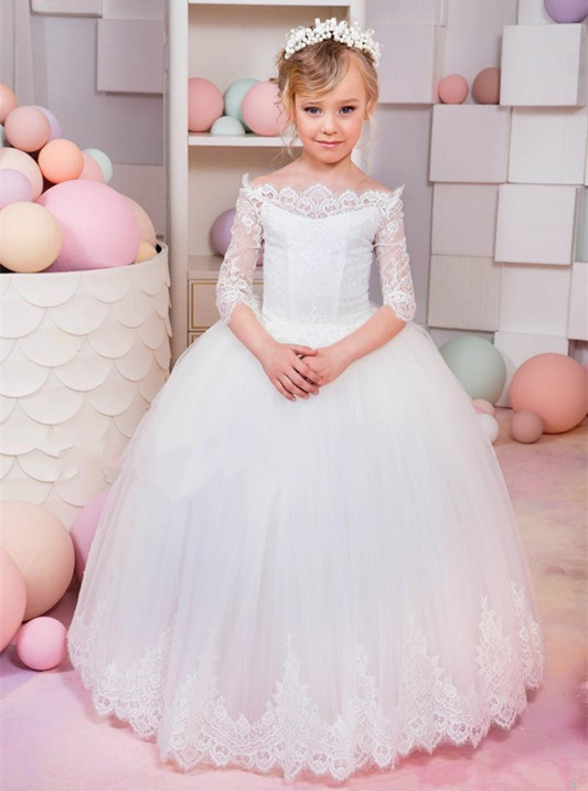 2019 Girls White First Communion Dress Half Sleeve Lace Puffy Tulle Flower Girls Dresses for Wedding Princess Birthday Gown white lace girls first communion dress ball gown birthday dress half sleeve long princess flower girls dresses for wedding