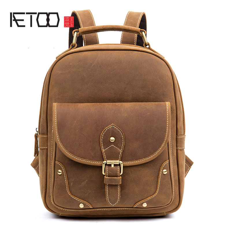 AETOO Retro casual leather backpack handmade first layer leather backpack computer bag men and women models aetoo spring and summer new leather handmade handmade first layer of planted tanned leather retro bag backpack bag