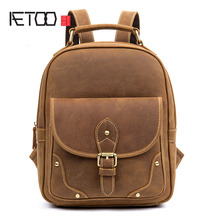 AETOO Retro casual leather backpack handmade first layer leather backpack computer bag men and women models aetoo leather leather shoulder bag men and women backpack original hand rubbing backpack casual retro backpack tannage
