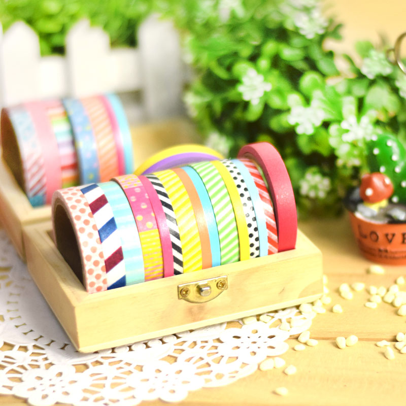 6 pcs slim washi tape british pattern masking tapes for diy album scrapbook deco adhesive. Black Bedroom Furniture Sets. Home Design Ideas