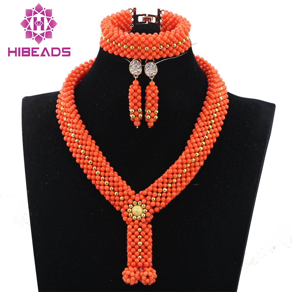 2017 New Chunky Coral Handmade Gold African Beads Jewelry Set Nigerian Coral Bridal Necklace Set for Brides Free Shipping ABH2262017 New Chunky Coral Handmade Gold African Beads Jewelry Set Nigerian Coral Bridal Necklace Set for Brides Free Shipping ABH226