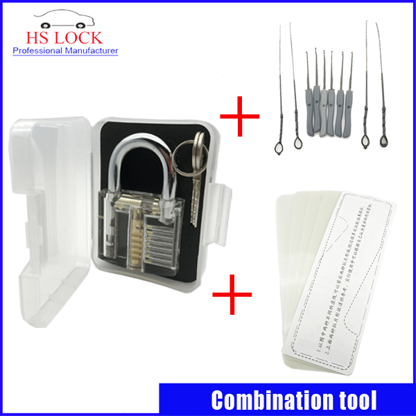 Clear padlock practice lock pick with Broken Key Extractor Set Locksmith Tool Key Removing Removal Hooks with 5 pcs tension tool hakkadeal broken key removal practice padlock set