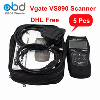 5 Pcs/Lot DHL Free Vgate VS 890 Auto Diagnostic Tool Universal MaxiScan VS890 Automobile OBD2 Code Reader Vgate VS890S Scanner