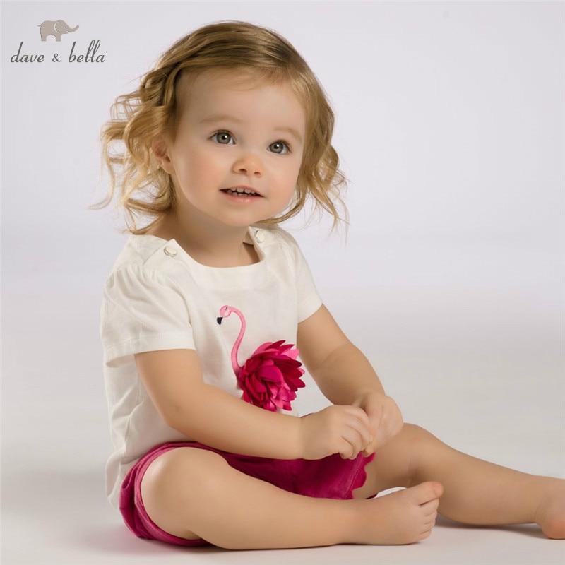 DB3588 dave bella musim panas bayi perempuan pink flamingo set pakaian anak pink set pakaian bayi anak set kostum bayi