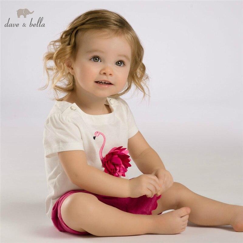 DB3588 dave bella καλοκαίρι μωρό κορίτσια ροζ φλαμίνγκο ρούχα σύνολα παιδί ροζ σύνολο νηπίων ρούχα παιδιά σύνολα κοστούμια μωρό