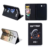 BF Cute Tablet Case Folding Flip Wallet PU Leather Stand Cover For Samsung Galaxy Tab E