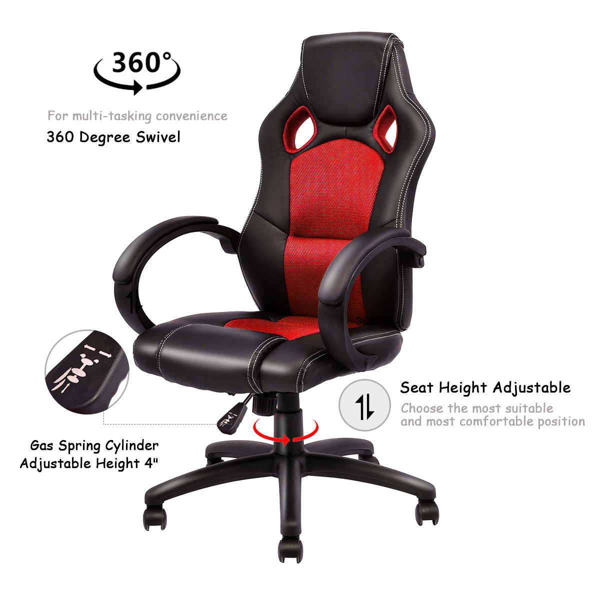 Office Chair Posture Us 74 99 Giantex Modern Office Chair Racing High Back Gaming Chair Ergonomic Computer Desk Armchair Office Furniture Hw54590re In Office Chairs From