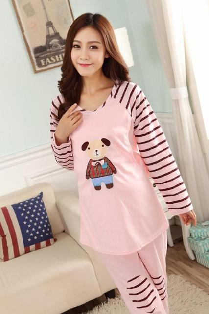 Spring pajamas woman Confinement lactation dress will Belly set Maternity Dress live own family fat MM clothes special