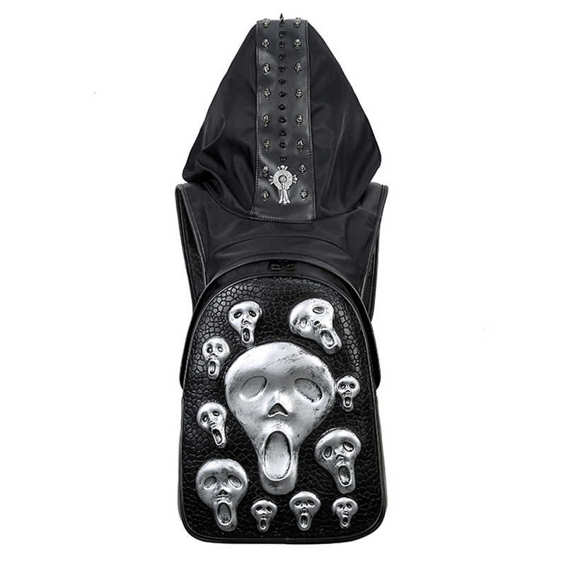 New 2017 Fashion Personality 3D Skull Leather Backpack Rivets Skull Backpack With Hood Cap Apparel Bag Cross Bags Hiphop Man 738 new 2017 fashion personality 3d skull leather backpack rivets skull backpack with hood cap apparel bag cross bags hiphop man 737