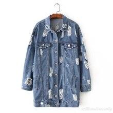 Women Autumn Fashion Basic Loose Holes Single Breasted Blue Denim Overcoat Long Jacket Frayed Windbreaker Cardigan