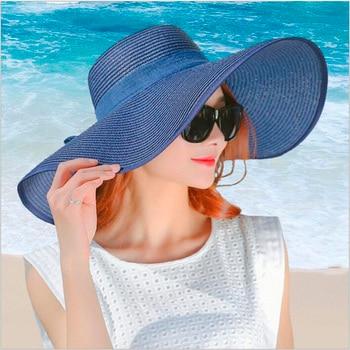 цена на simple summer straw hat women big wide brim beach hat sun hat foldable sun block UV protection panama hat bone chapeu feminino