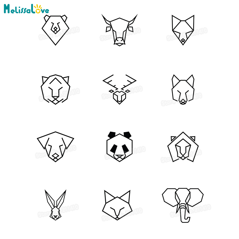 Simple Design 12 Style Geometric Animal Pattern Wall