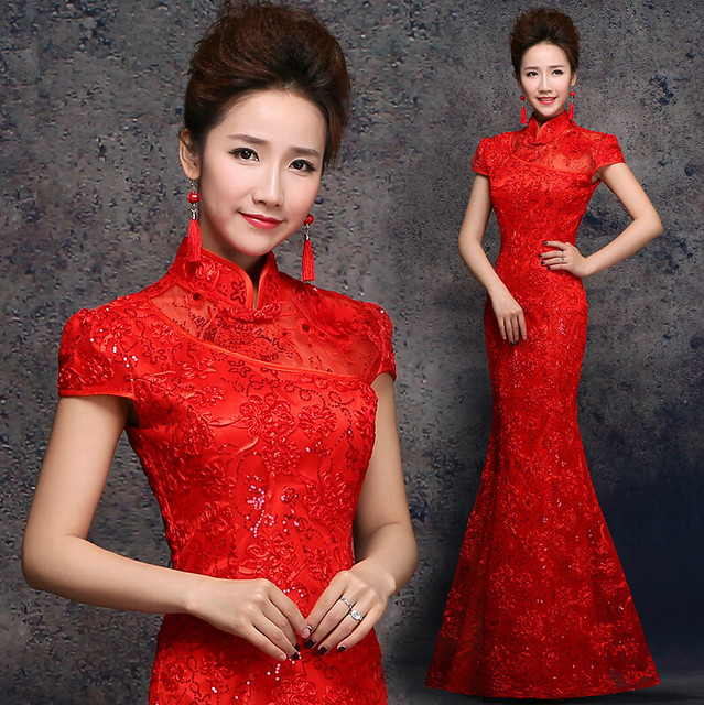 Women Long Red Lace Sequins Applique Cheongsam Evening Gown Dresses