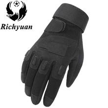 Us Military Tactical Gloves Outdoor Sports Army Full Finger Combat Motocycle Slip-resistant Carbon Fiber Tortoise Shell Gloves tanie tanio Rękawiczki Poliester Mikrofibra Dla dorosłych Mężczyźni Moda Nadgarstek Stałe PC016 Richyuan