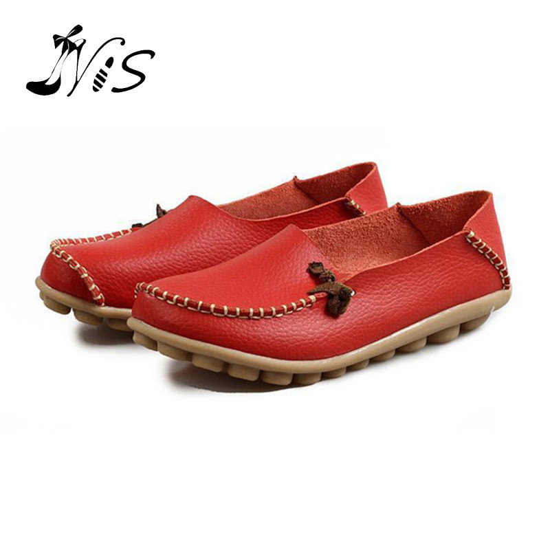 2016 New Spring Summer Good Quality Cow Split Women Shoes Woman Ladies Flat Loafers Non-slip Leather Flats Shoe