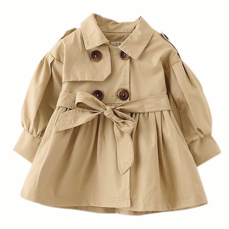 Fashion Kids Baby Girls Coat In The Long Section Of The Windbreaker Long Sleeve Tops Clothes
