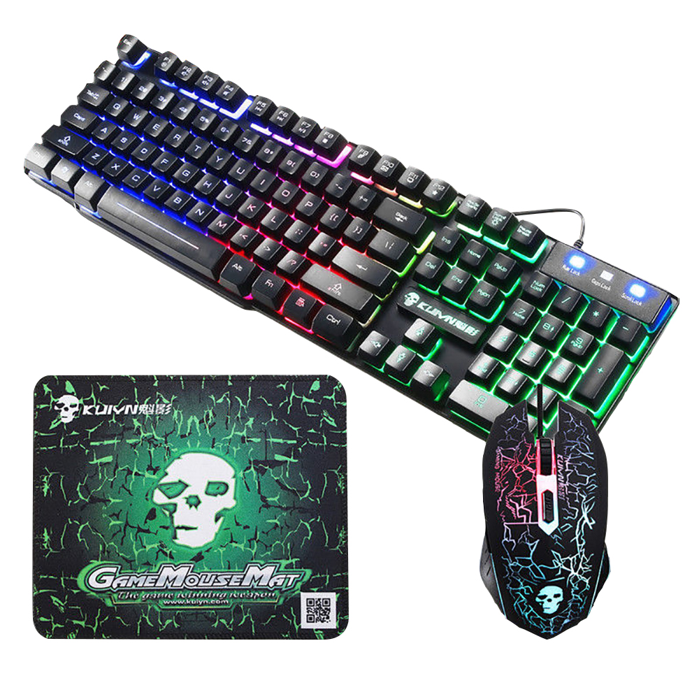 Imitation Mechanical Gaming Keyboard Mouse Combo LED Backlit USB Wired Keyboards Adjustable DPI Mouse For Laptop Computer Gamer