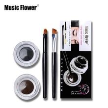 Music Flower Brand Eye Makeup 2 in 1 Brown Black Gel Eyeliner Makeup Water proof Smudge