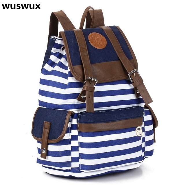 women backpack 2017 new fashion stripe casual canvas backpack ...