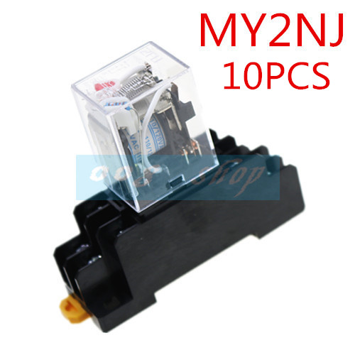 ZFU 10PCS MY2NJ relay 220V AC coil high quality general purpose DPDT micro mini relay with socket base holder 10pcs my4nj ac dc 220v coil 5a 4no 4nc green led indicator power relay din rail 14 pin time relay with socket base