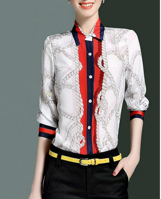 Blue 2017 spring silk print color block formal elegant collar long-sleeve shirt female 8271