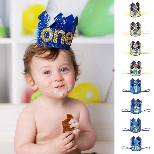 Blue Gold Boy First Birthday Hat Glitter Princess Crown Number 1st 2 3 Year Old Party
