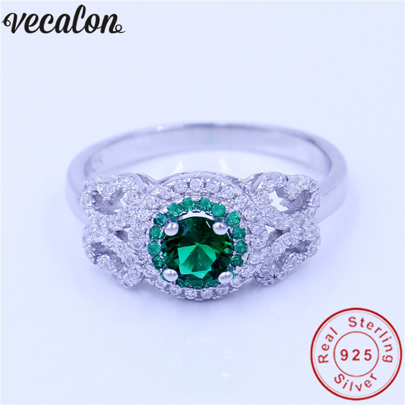 Vecalon Jewelry Genuine 100% Soild 925 Sterling Silver ring 1ct 5A Zircon Green Cz Engagement wedding Band ring for women men vecalon real 925 sterling silver infinity ring 5a zircon cz diamon engagement wedding band rings for women bridesmaid gift