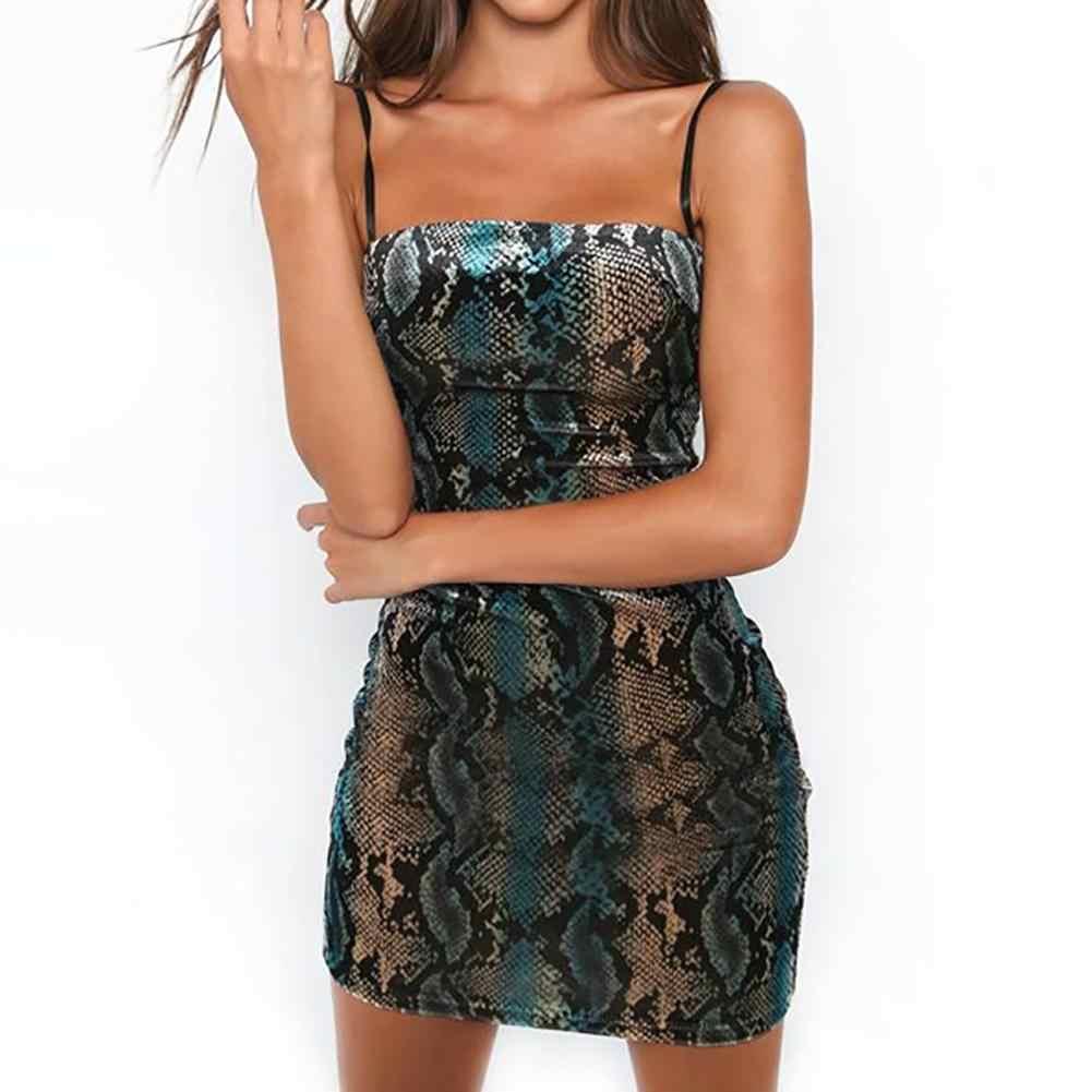 Women Party Nightclub Sexy Spaghetti Strap Snakeskin Print Bodycon Mini  Dress e29e4dd211ec
