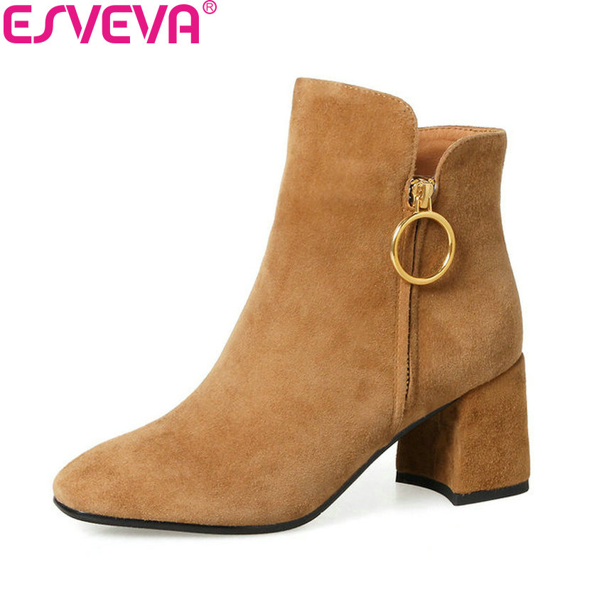 ESVEVA 2018 Women Boots Solid Synthetic/PU Western Style Round Toe Square High Heels Autumn Spring Ladies Ankle Boots Size 34-42 esveva 2016 sequined platform women boots autumn fashion boots wedges high heel leisure round toe ladies ankle boot size 34 39