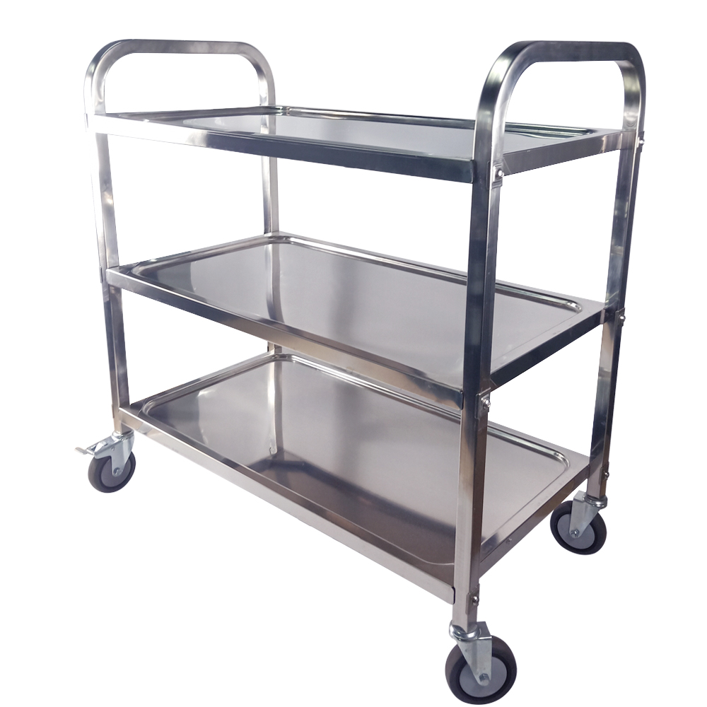 Large 3 Tier Trolley Cart For Catering Hotel Restaurant Stainless Steel Wheeled Storage Rack Shelf Trolley With TPR Mute Wheel