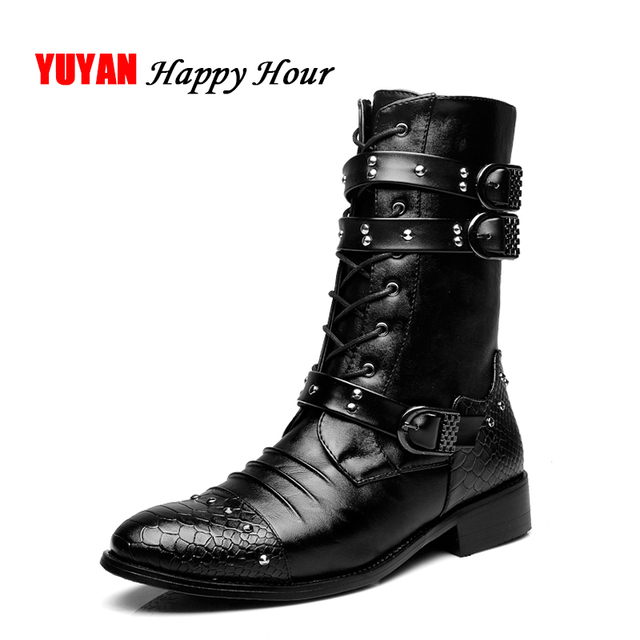 2019 Autumn Winter Motercycle Boots Fashion Winter Soft Leather Warm Shoes Men's Boots Male Brand Mid-Calf Botas Black K079