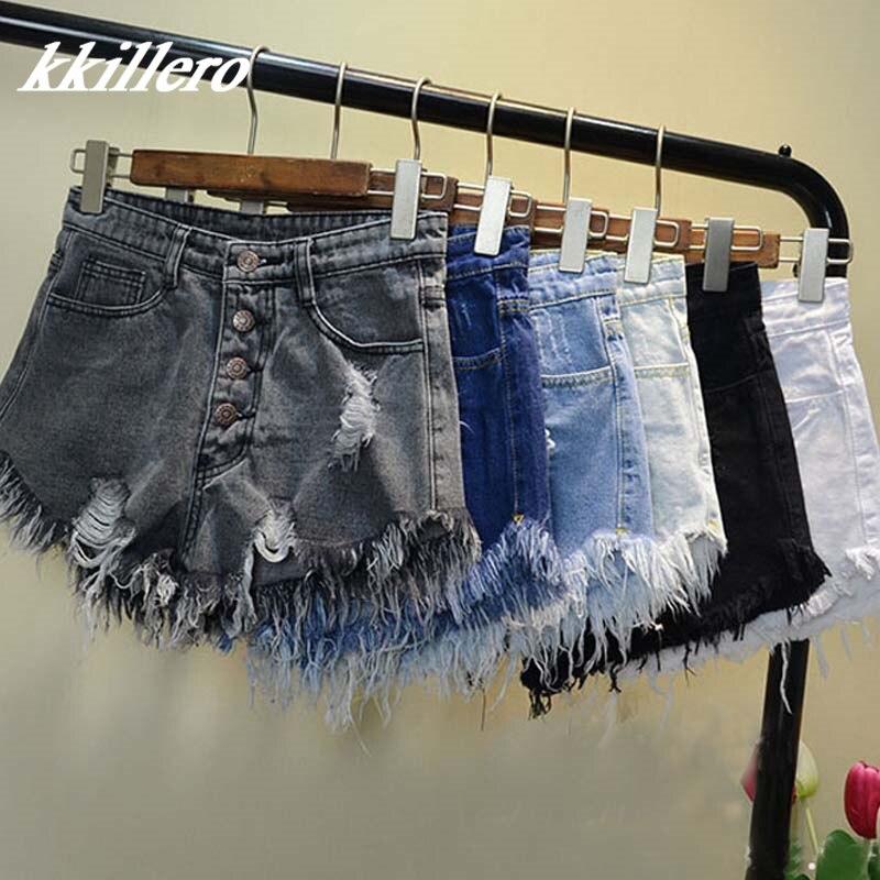 2016 Europei e Americani BF vento d'estate femmina blu pantaloncini a vita alta denim indossato sciolto foro cranico pantaloncini di jeans