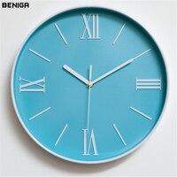 Minimalist Blue White Roman Numerals Wall Clock Colorful Vogue European Luxury Round Silently Quartz Needle Wall Clock for Decor