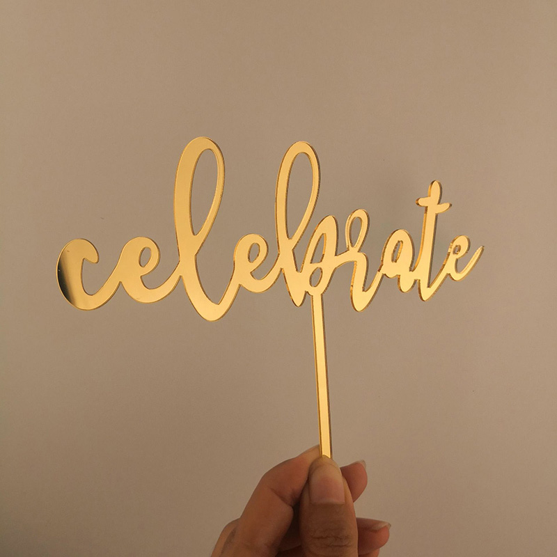 Celebrate Acrylic Cake Topper Gold Black Acrylic Cupcake Topper For Birthday Wedding Graduation Congrats Party Cake Decorations