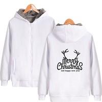 Merry Christmas Hoodies and Sweatshirts zipper pockets baseball uniform hooded sweatshirts Winter Sweatshirts Merry Christmas