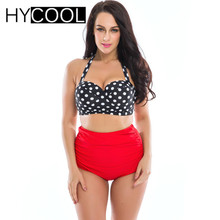 HYCOOL Two Piece Bikini 2017 Plus Size 3XL Swimwear Print Female Hot Spring Swimsuit Women Tankini Set Bathing Swim Suit