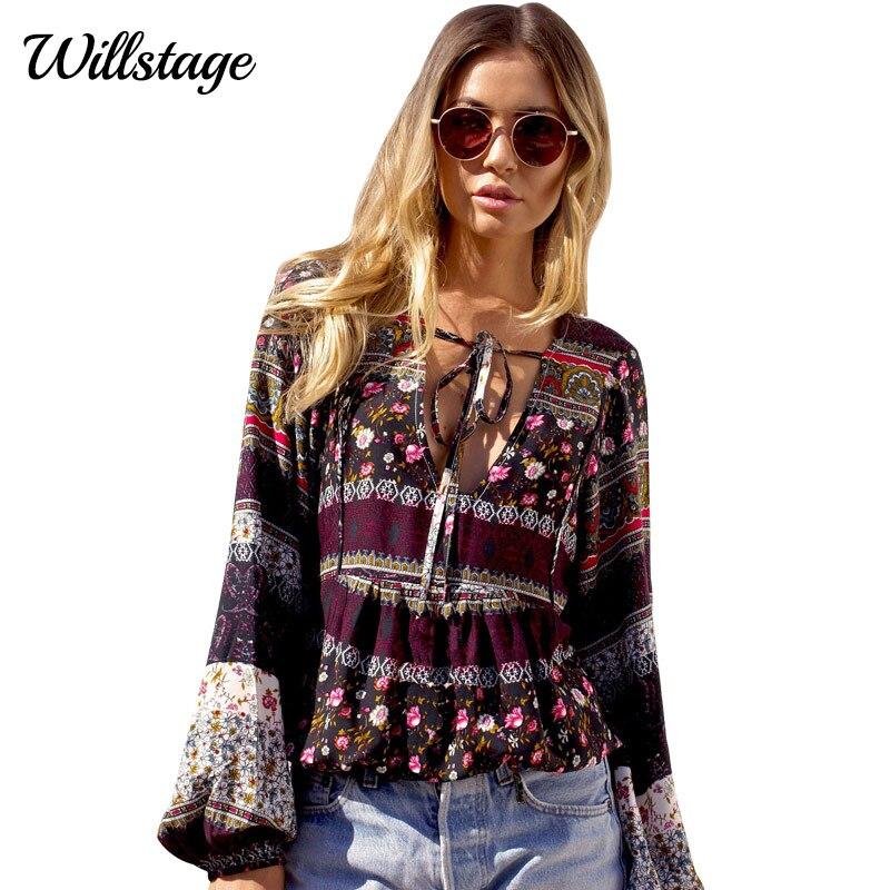 LADYBEES Spring Blouse Women Boho Sexy Top Printed Shirts Beach Women Clothing 2017 New Causal Blusas