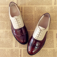Women Genuine Leather Oxford Shoes Woman Flats Handmade Vintage Retro Lace Up Loafers Brown Casual Sneakers