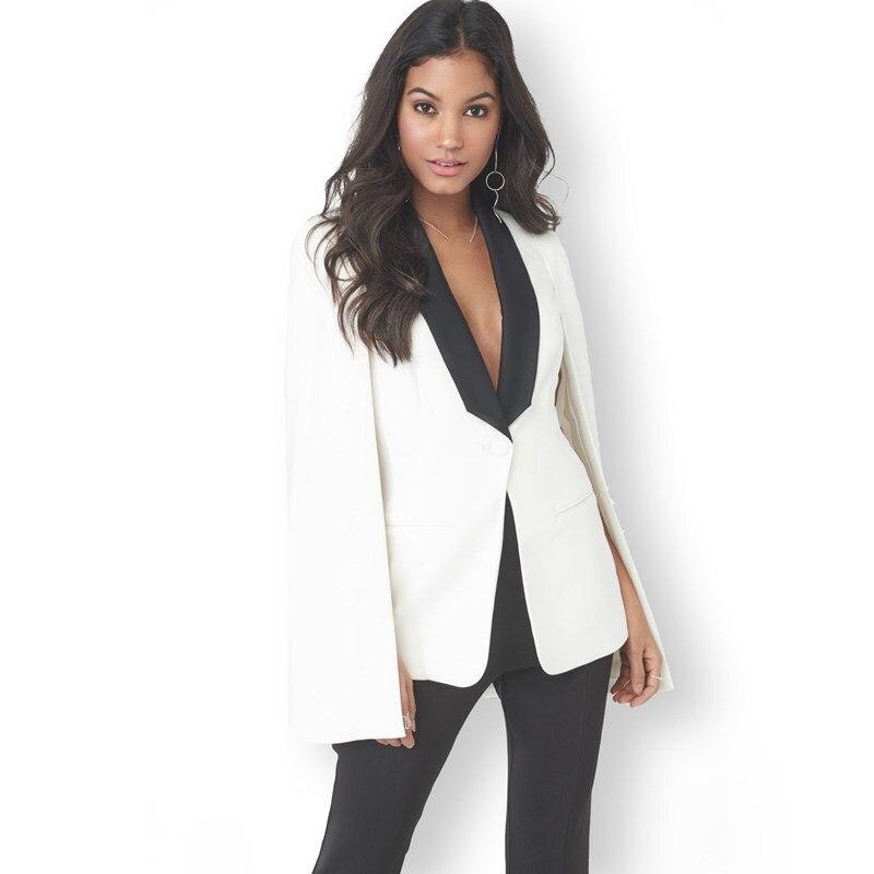 Blazer Kraftvoll Mode Mantel Cape Blazer Sexy Tiefem V-ausschnitt Anzug Jacke Oberbekleidung Langarm Casual Schwarz Weiß Arbeitskleidung SchüTtelfrost Und Schmerzen