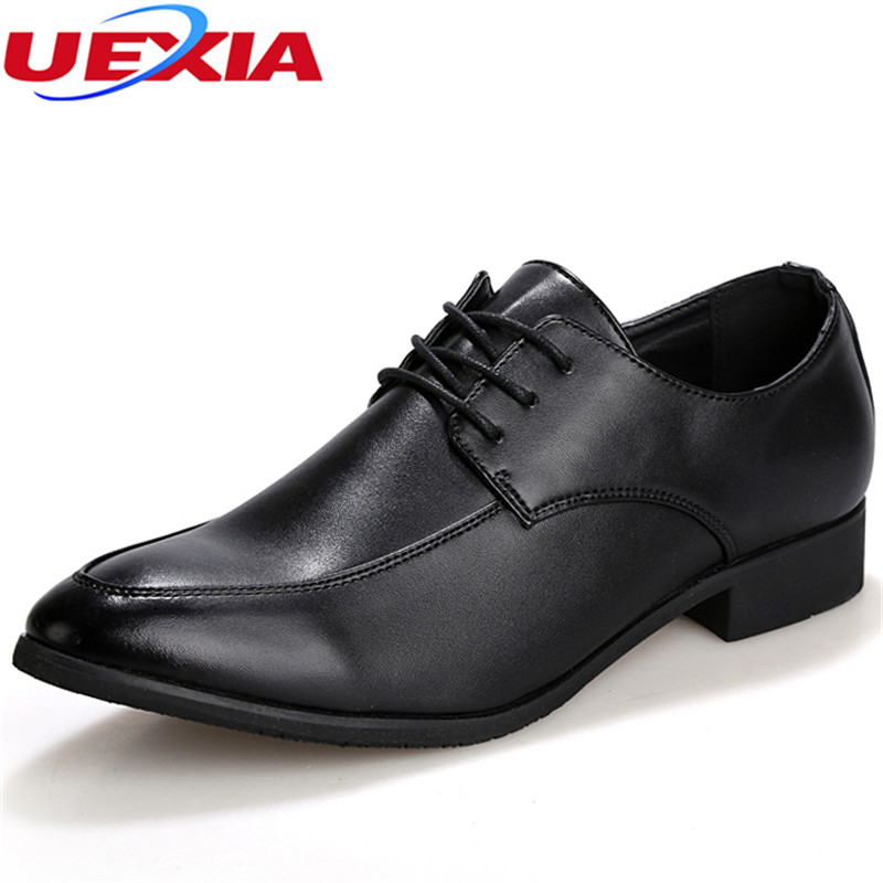 UEXIA New Business Shoes Men Casual Leather Dress Shoes Wholesale Lace-up Classic Wedding Formal New Fashion Pointed Toe Oxfords new fashion men business office formal dress solid genuine leather shoes lace up pointed toe flats oxfords shoe spring autumn