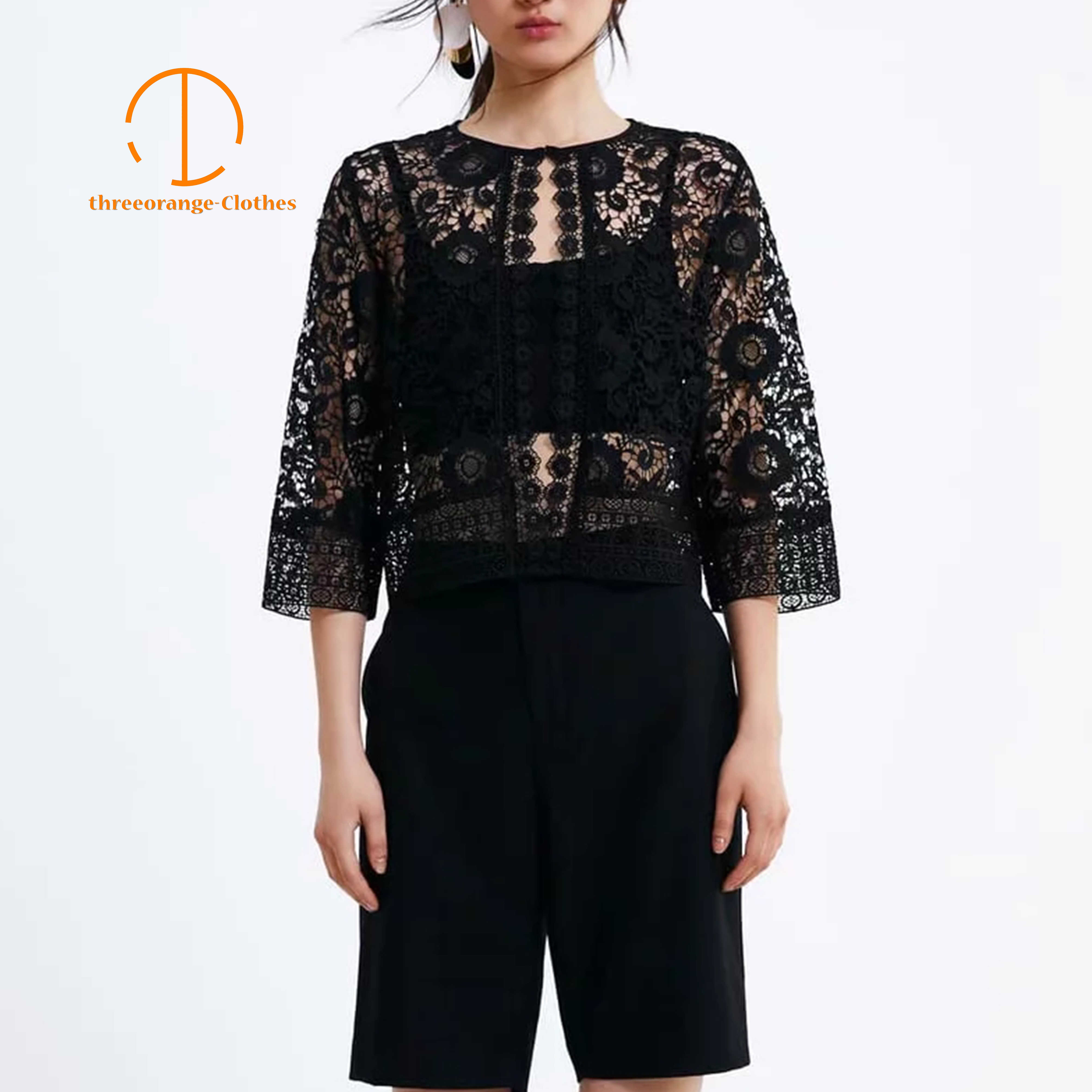 NEW ZA Design Summer Blouse shirt Women Sexy Hollow out netted BlackLace Vintage Delicate Floral Pattern See-through Blouse Coat