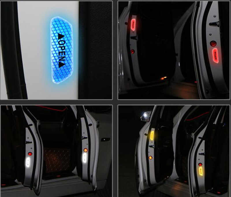 4 Pcs Mobil Pintu Stiker Peringatan Tanda Keselamatan Reflektif Strip untuk Kia Sportage RIO Sorento Cerato K2 Jiwa Jtsl Sporta aksesoris